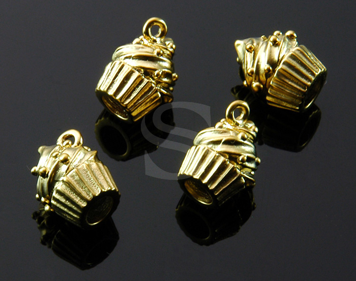 [B1507-P-MG] 4 Pcs / Mini Muffin Charm Pendant / Brass / 9.3mm x 11.6mm