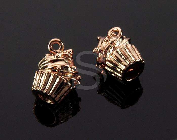 [B1507-P-RG] 4 Pcs / Mini Muffin Charm Pendant / Brass / 9.3mm x 11.6mm