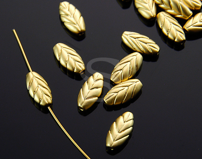 [B1524-C-MG] 6 Pcs / Leaf Beads / Brass / 4.8mm x 9.9mm