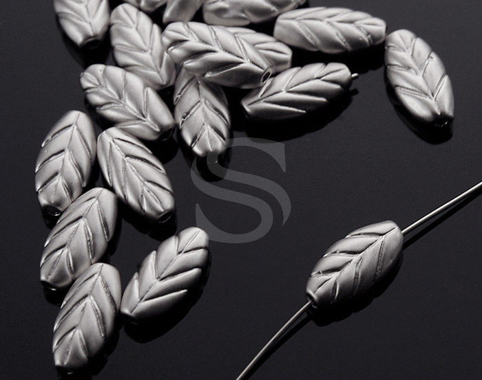 [B1524-C-MS] 6 Pcs / Leaf Beads / Brass / 4.8mm x 9.9mm