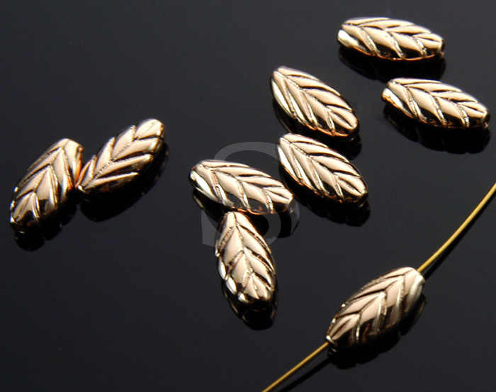 [B1524-C-RG] 6 Pcs / Leaf Beads / Brass / 4.8mm x 9.9mm