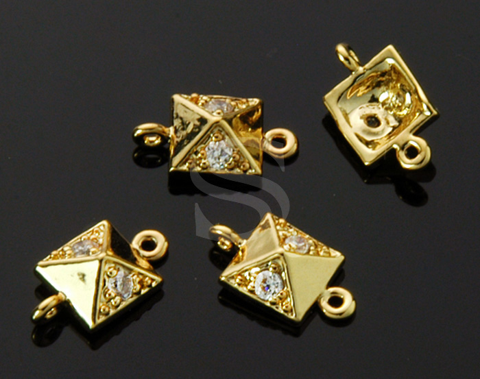 [B1528-C-G] 4 Pcs / CZ Detailed Chic Pyramid Shape Connector / Brass / 6.4mm x 11.4mm