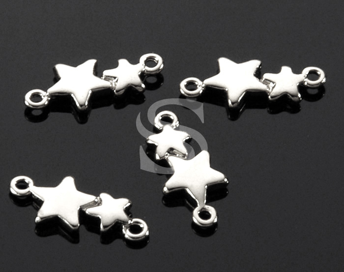 [B1529-C-ATSS] 6 Pcs / Adorable Double Star Connector / Brass / 13.6mm x 5.8mm