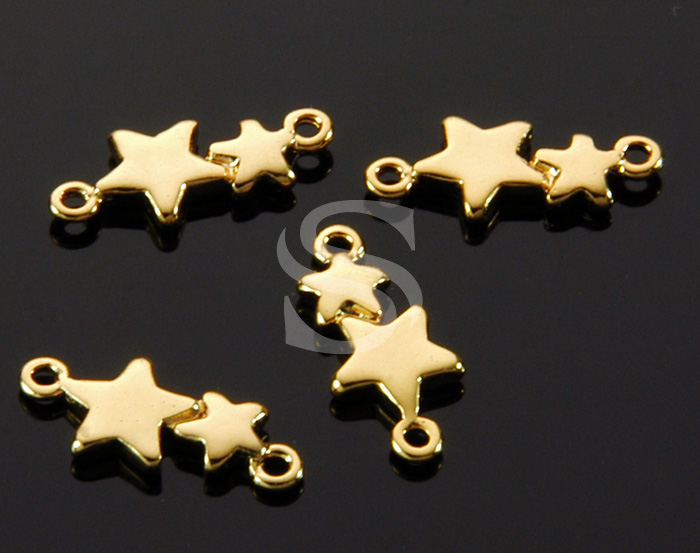 [B1529-C-G] 6 Pcs / Adorable Double Star Connector / Brass / 13.6mm x 5.8mm