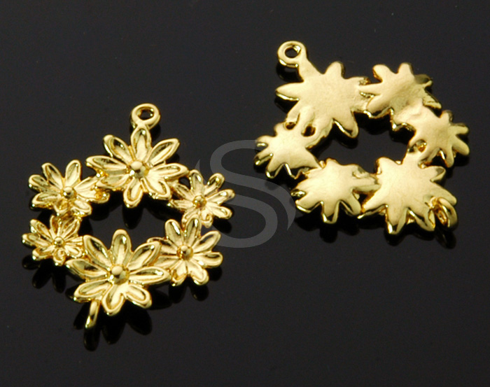 [B1531-C-G] 4 Pcs / Flower Decorated Connector / Brass / 14.5mm x 20.8mm