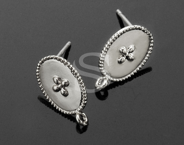 [B1536-E-ATSS] 4 Pcs / Flower Detailed Oval Post Earring/ Brass / 9.2mm x 15.1mm