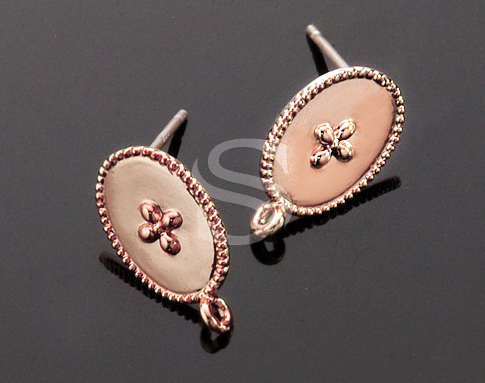 [B1536-E-RG] 4 Pcs / Flower Detailed Oval Post Earring/ Brass / 9.2mm x 15.1mm