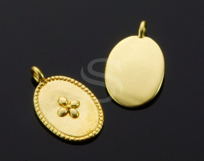 [B1536-P-MG] 4 Pcs / Flower Detailed Oval Pendant / Brass / 9.2mm x 15.1mm