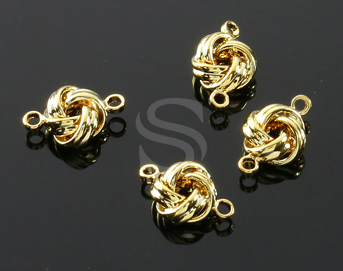 [B1540-C-G] 6 Pcs / Lines Interlaced Connector / Brass / 6.9mm x 10.7mm
