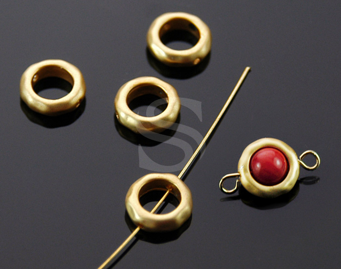 [B1553-C-MG] 6 Pcs / Hammered Ring Beads / Brass / 7.9mm