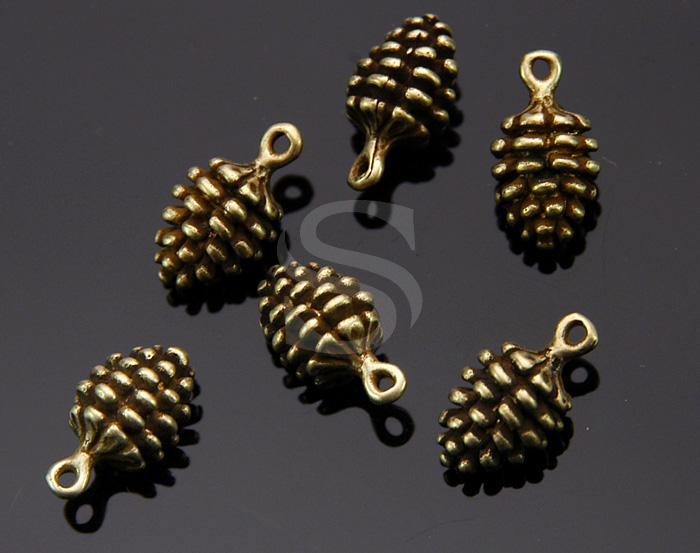 [B1560-P-AB] 6 Pcs / Adorable Real Like Pine Corn Charms / Brass / 14mmx7mm