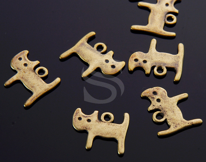 [B1585-P-AB] 4 Pcs / Lovely Round Eyes Cat Charm / Brass / 13mm x 11mm