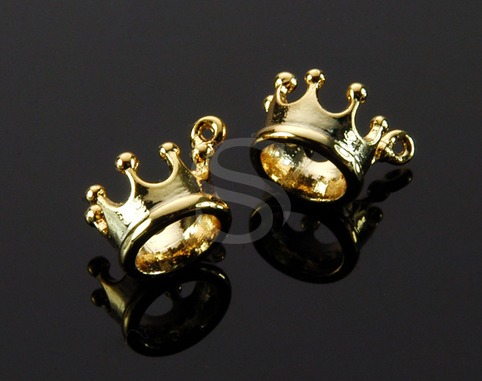 [B1603-P-G] 4 Pcs / Crown Charm Pendant / Brass / 9.8mm x 6.7mm