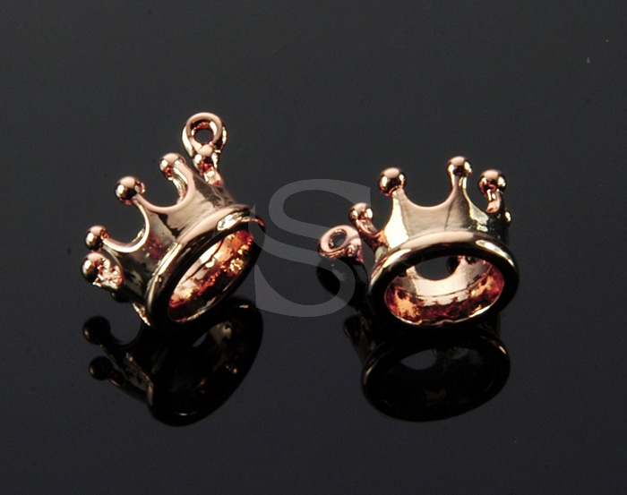 [B1603-P-RG] 4 Pcs / Crown Charm Pendant / Brass / 9.8mm x 6.7mm