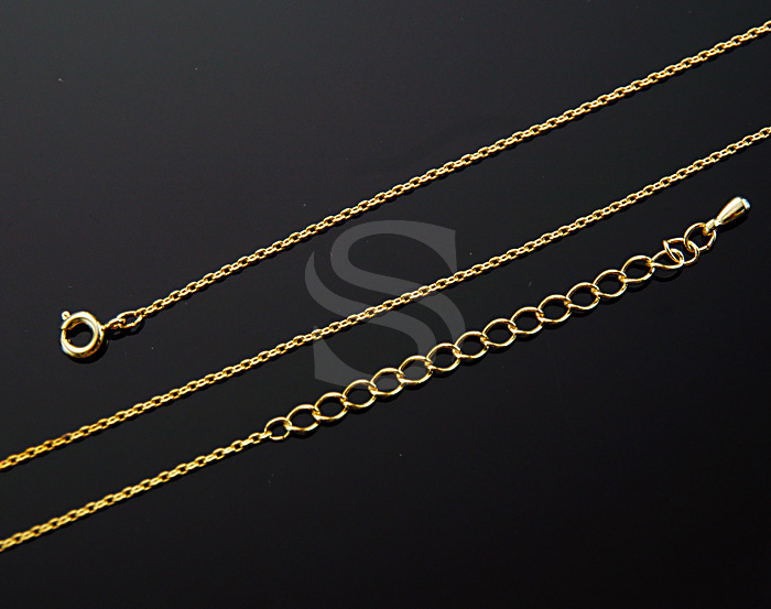 [CH1615-G] 2 Pcs / Small Cable Finished Chain / Brass / 420mm