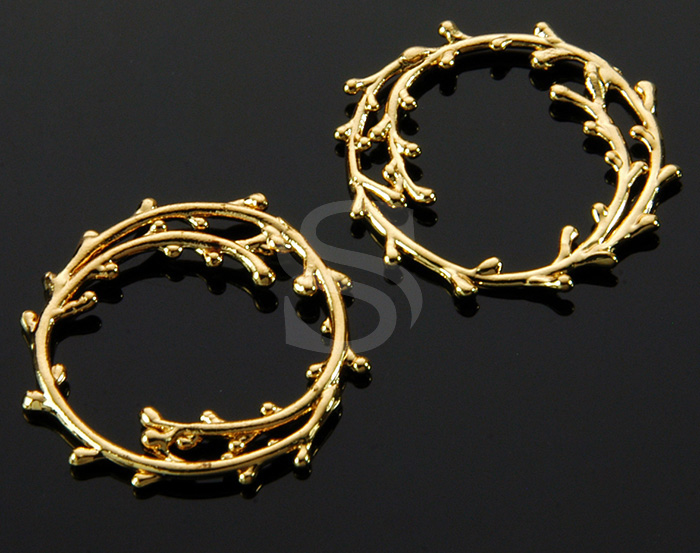 [B1618-C-G] 4 Pcs / Wreathed in Little Leaves Connector / Brass / 19.5mm x 21mm