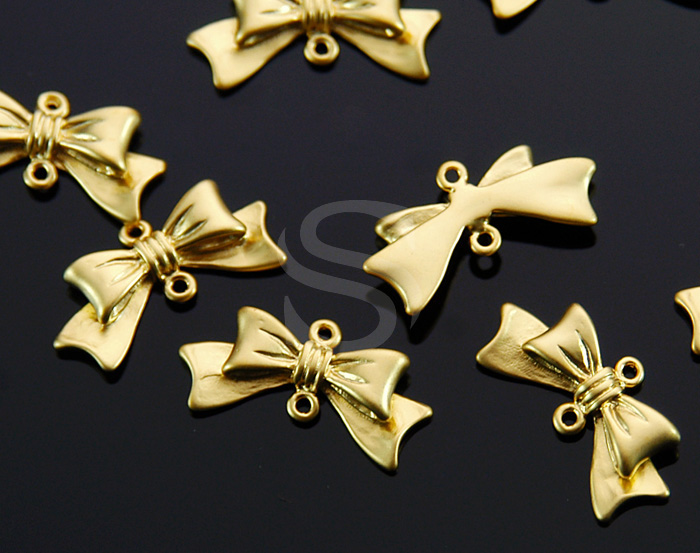 [B1635-C-MG] 4 Pcs / Adorable Ribbon Connector / Brass / 11mm x 20.5mm