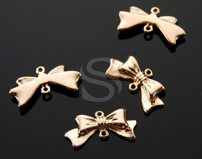 [B1635-C-RG] 4 Pcs / Adorable Ribbon Connector / Brass / 11mm x 20.5mm