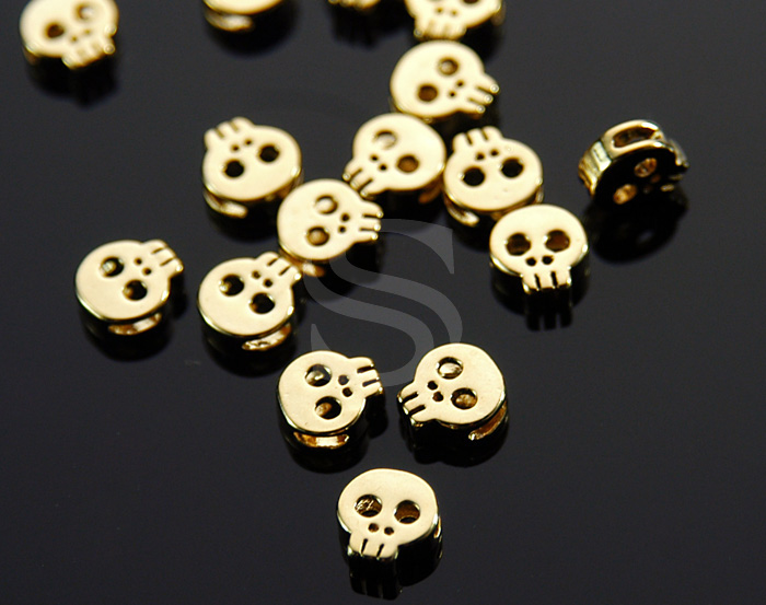 [B1640-C-G] 6 Pcs / Skull Connector / Brass / 7mm x 7.2mmkull Pand