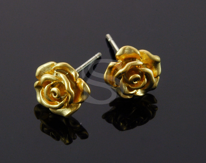 [B1682-E-MG] 4 Pcs / Mini Rose Earring / Brass / 9.5mm