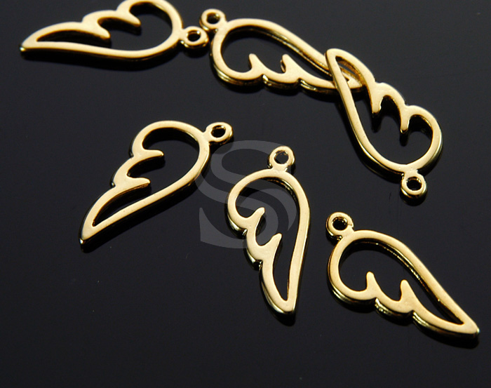 [B1695-P-G] 4 Pcs / Angel Wings Charm Pendant / Brass / 7mm x 16.8mm