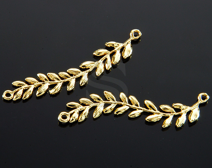 [B1706-C-G] 2 Pcs / Leaves with Branch Connector/ Brass / 37.8mm x 6.5mm