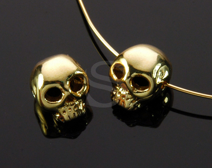 [B1708-C-G] 4 Pcs / Skull Bead / Brass / 7.4mm x 8.4mm