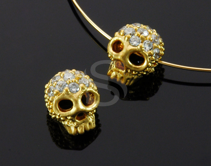 [B1708-C2-MG] 2 Pcs / CZ Detailed Skull Bead / Brass / 7.4mm x 8.4mm