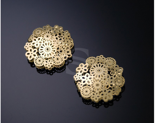 [B0170-C-MG] 4 Pcs / Unique Full Flower Connector / Brass / 22mm
