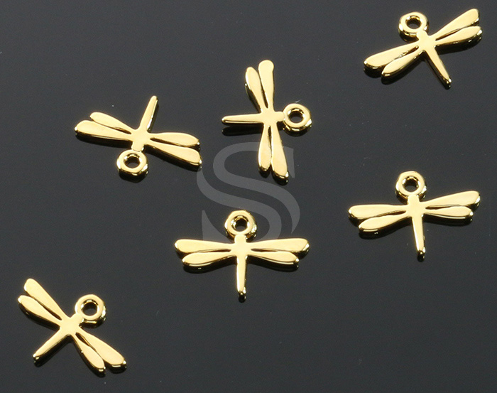 [B1718-P2-G] 6 Pcs / Mini Dragonfly Charm Pendant / Brass / 11.5mm x 13mm