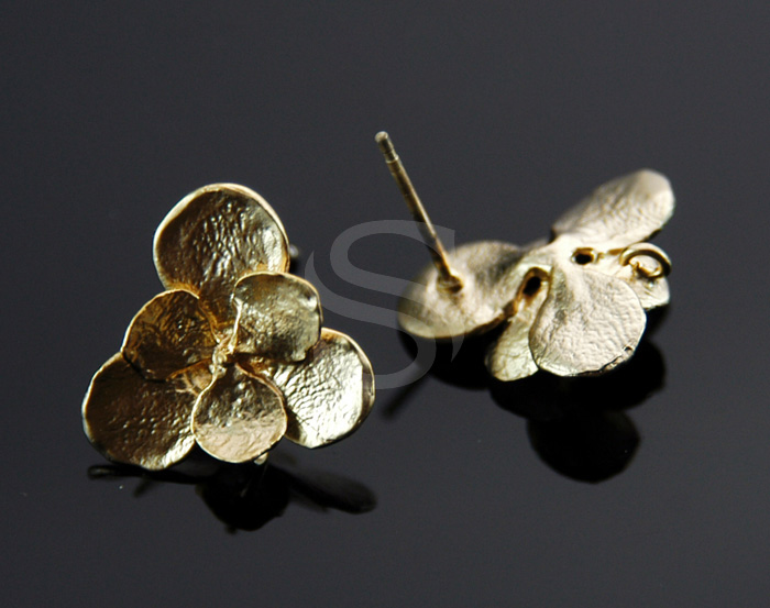 [B1733-E-MG] 2 Pcs / Double Flower Earring / Brass / 16.5mm x 16mm
