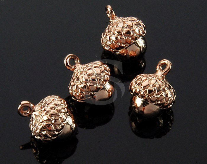 [B1736-P-RG] 4 Pcs / Mini Acorn Charm / Brass / 8.6mm x 12.3mm