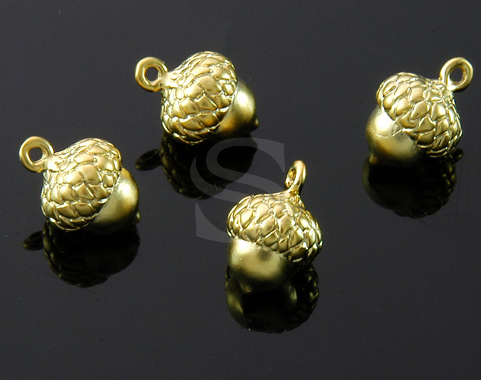 [B1736-P-MG] 4 Pcs / Mini Acorn Charm / Brass / 8.6mm x 12.3mm