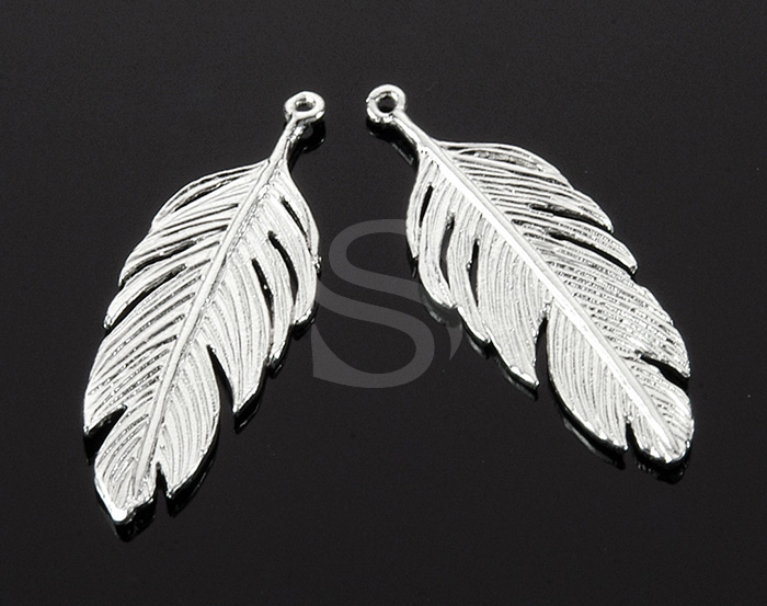 [B1751-P-ATSS] 2 Pcs / Feather Pendant / Brass / 12mm x 34.3mm