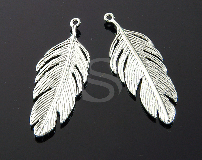 [B1751-P-RF] 2 Pcs / Feather Pendant / Brass / 12mm x 34.3mm