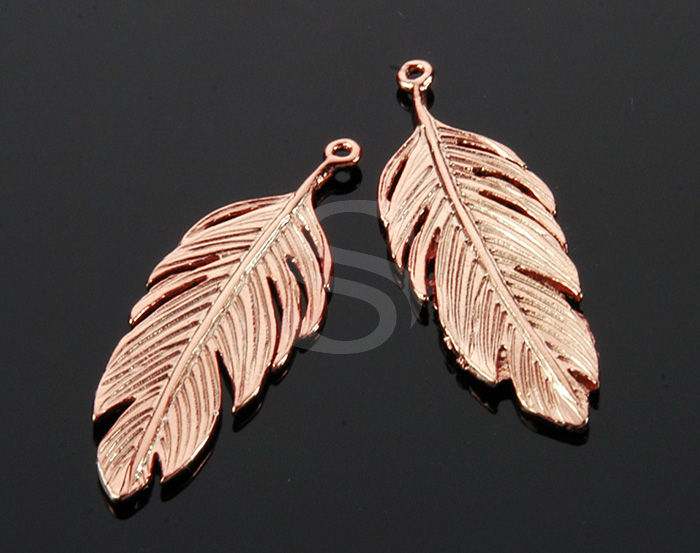 [B1751-P-RG] 2 Pcs / Feather Pendant / Brass / 12mm x 34.3mm