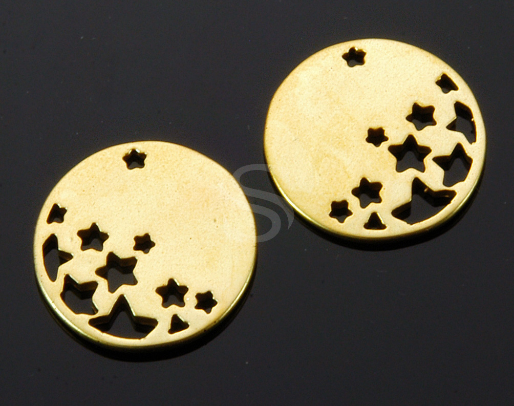 [B1762-P-MG] 2 Pcs / Star Cut Out Round Disk Pendant / Brass / 18mm