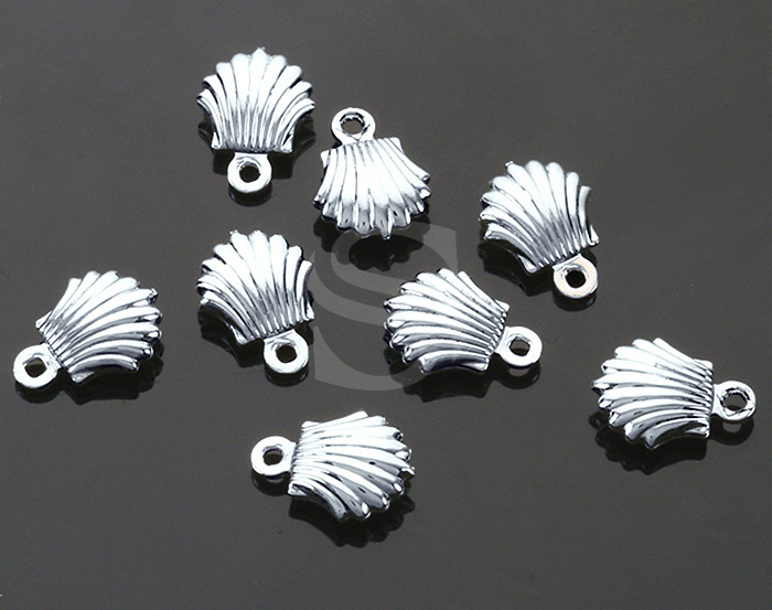 [B1777-P-RF] 8 Pcs / Mini Clam Charm / Brass / 7.3mm x 9.9mm