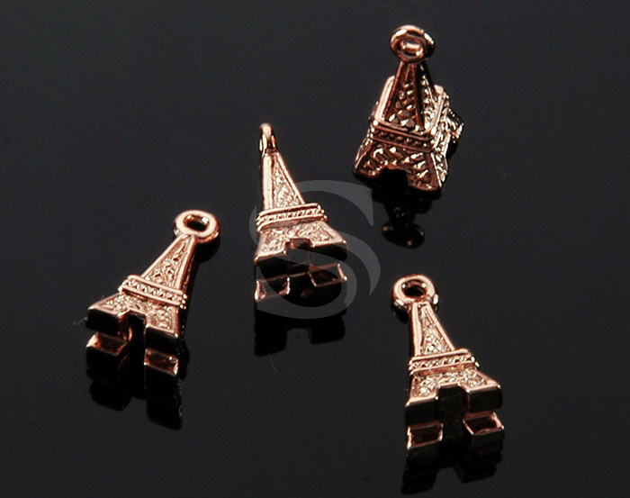 [B1816-P-RG] 4 Pcs / Mini Eiffel Tower Pendant / Brass / 5.5mm x 12mm
