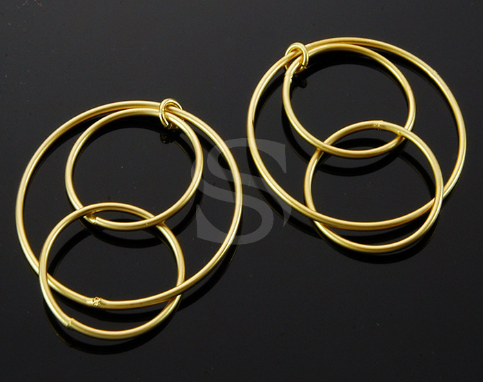 [B1837-C-MG] 4 Pcs / 3 Sized Rings Connentor / Brass / 34.8mm x 39.5mm
