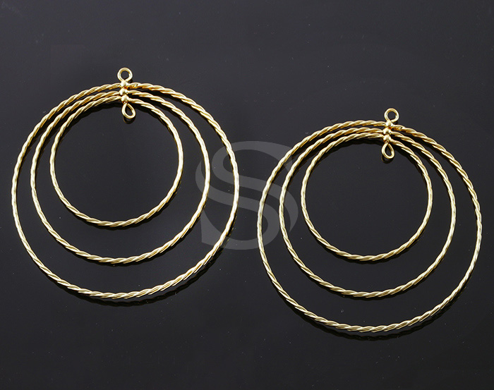 [B1846-C-MG] 2 Pcs / Wire Linked Triple Hoop Connector / Brass / 50mm