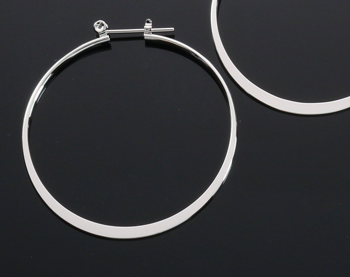 [B1861-E-RF] 2 Pcs / Large Hoop Earring and latch-back closure/ Brass / 45mm