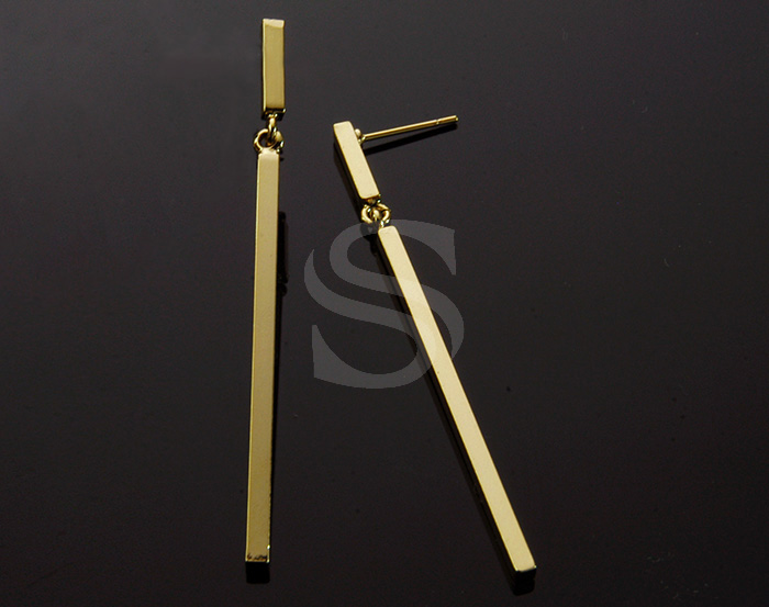 [B1863-E-G] 2 Pcs / Linked Bars Earring / Brass / 2.5mm x 54mm