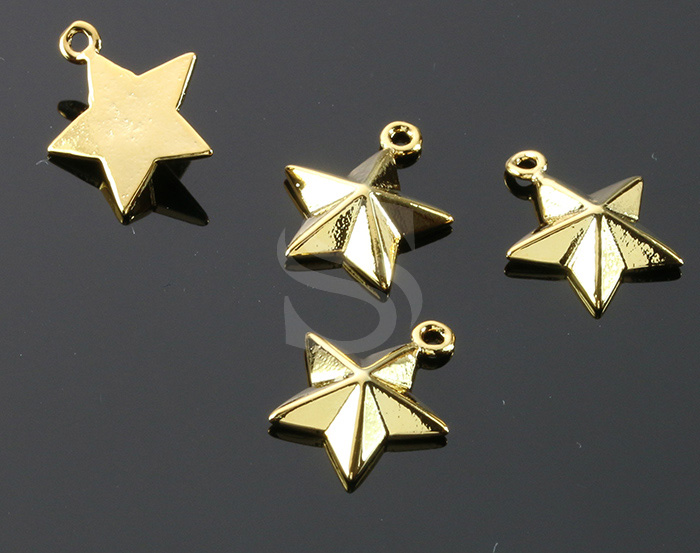 [B1872-P1-G] 4 Pcs / Faceted Star Charm / Brass / 12mm x 14.3mm