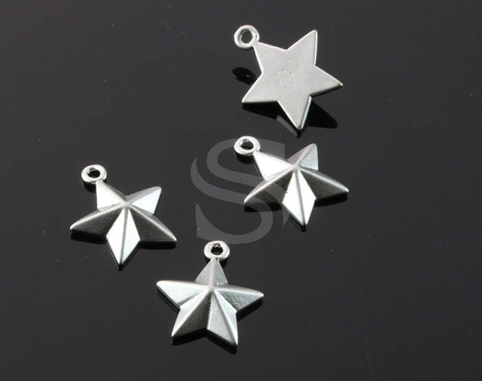 [B1872-P1-MS] 4 Pcs / Faceted Star Charm / Brass / 12mm x 14.3mm