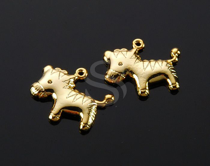 [B1874-P-G] 4 Pcs / Pony Pendant / Brass / 18.2mm x 14.5mm