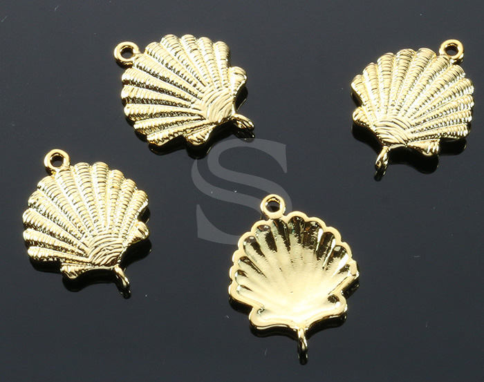 [B1904-C-G] 4 Pcs / Shell Connector / Brass / 14.5mm x 18mm