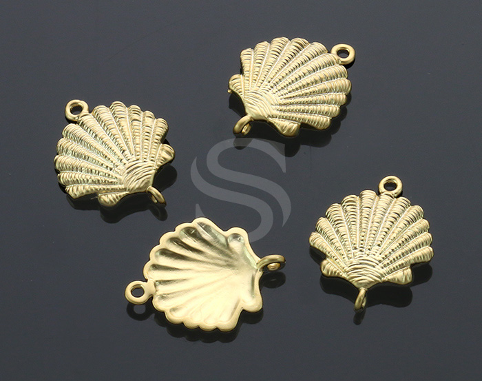 [B1904-C-MG] 4 Pcs / Shell Connector / Brass / 14.5mm x 18mm