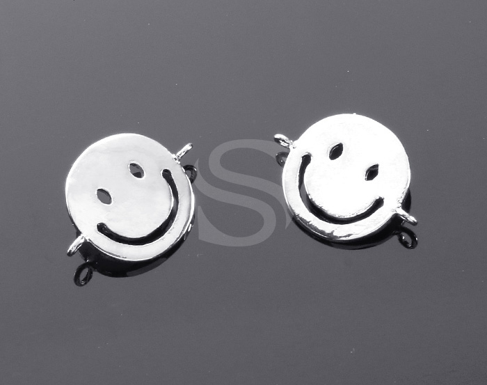 [B1915-C1-ATSS] 4 Pcs / Smile Face Connector / Brass / 11mm x 14mm