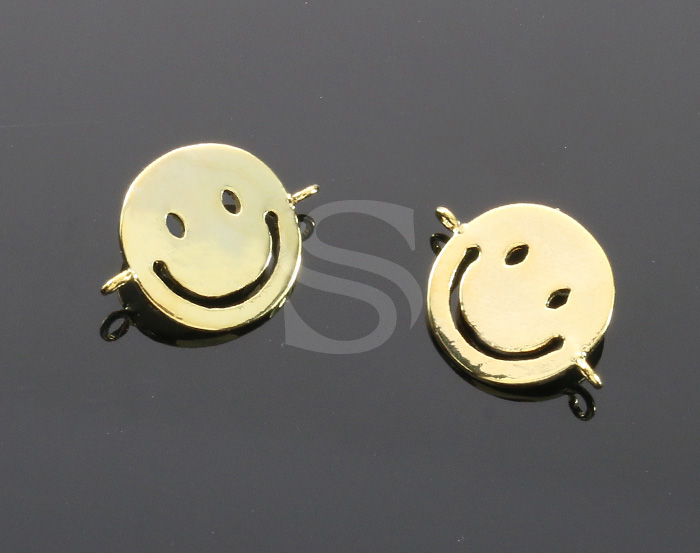 [B1915-C1-G] 4 Pcs / Smile Face Connector / Brass / 11mm x 14mm